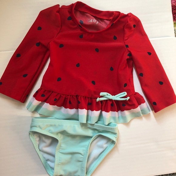 1ca2e4fe Cat & Jack Swim | Watermelon Bathing Suit With Rash Guard | Poshmark